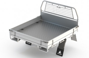 Tray Body (White, Steel Foor, Alloy Drop Sides with Integrated Mesh Load Guard) Image (1)