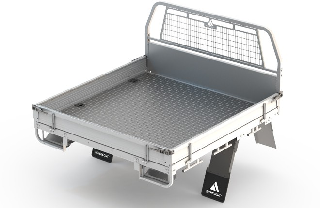 Tray Body (White, Steel Foor, Alloy Drop Sides with Integrated Mesh Load Guard)