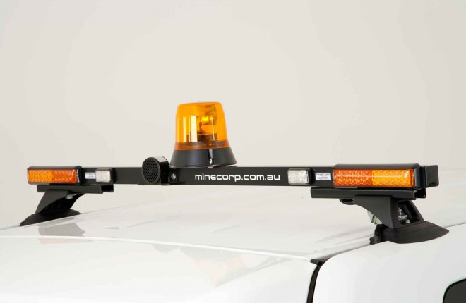 Repeater Lights (elevated bar assembly, stop/tail/indicator/reverse, beacon Class 1 amber rotator, reverse alarm wired through beacon switch)