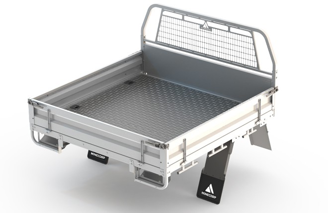Tray Body (Gal, Steel Floor, Drop Sides with Integrated Mesh Load Guard)
